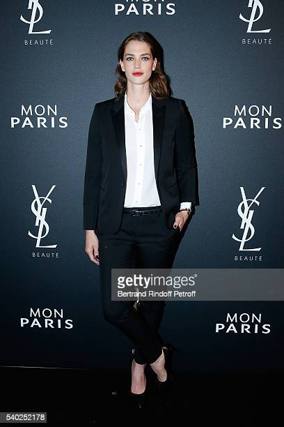 Egeria of YSL Beauty model Crista Cober attends YSL Beauty launches the new Fragrance 'Mon Paris' at Cafe Le Georges on June 14 2016 in Paris France