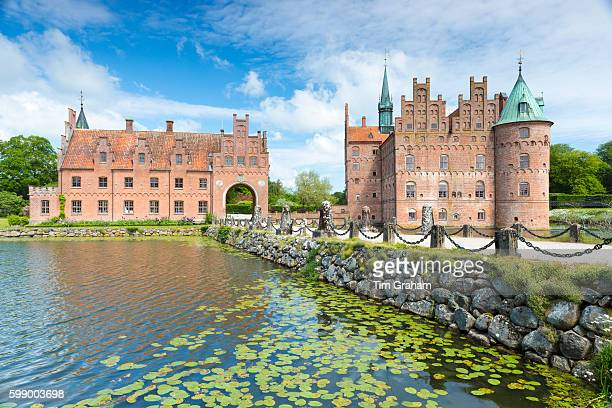 Egeskov Slot Castle 16th Century Renaissance with moat turrets Titania's Palace in south of island of Funen Denmark