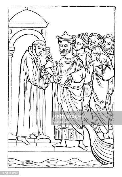 Egfrid King of Northumbria and an ecclesiastical synod offering the Bishopric of Hexham to St Cuthbert Egfrid was king from 670 685 b 650 d 685
