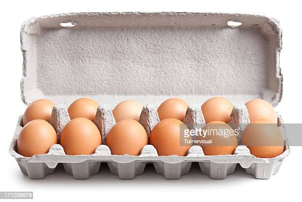 egg carton isolated + clipping path - carton stock photos and pictures