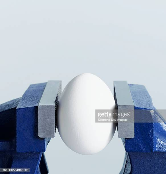 Egg gripped in vice, close-up