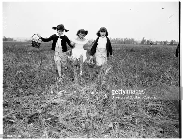 Egg hunt in San Gabriel 12 April 1952 Sherri Lee Halgren 7 years Carol Burke 7 yearsNancy McCarthySan Gabriel Los Angeles California USA