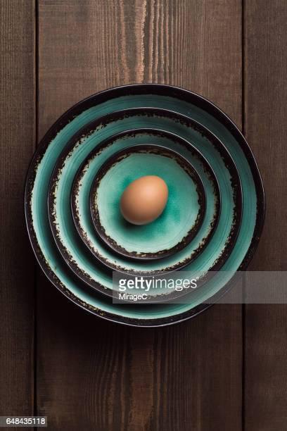 Egg in Crockery Bowls