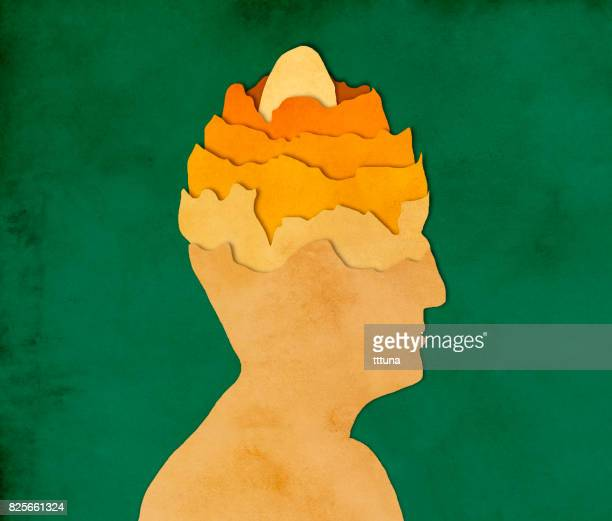 Egg in man's head, paper cutting style