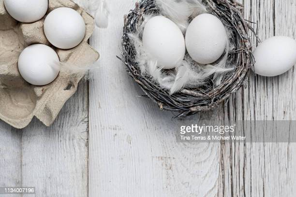 egg in nest on dark wooden background. easter. - kreativität stock pictures, royalty-free photos & images