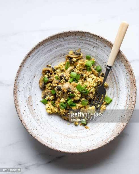 egg omelet with mushrooms, tofu and green onion - meat substitute stock pictures, royalty-free photos & images