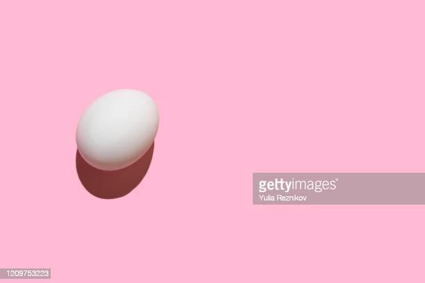 egg on the pink background - ei stock-fotos und bilder