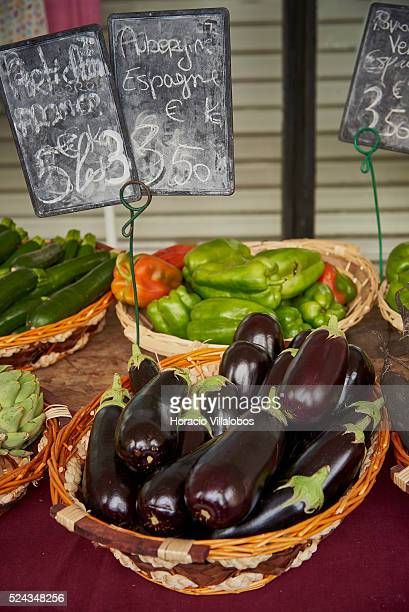 Egg plants offered in the street market in downtown Dieppe France 16 August 2015 Dieppe is a port on the English Channel at the mouth of the Arques...