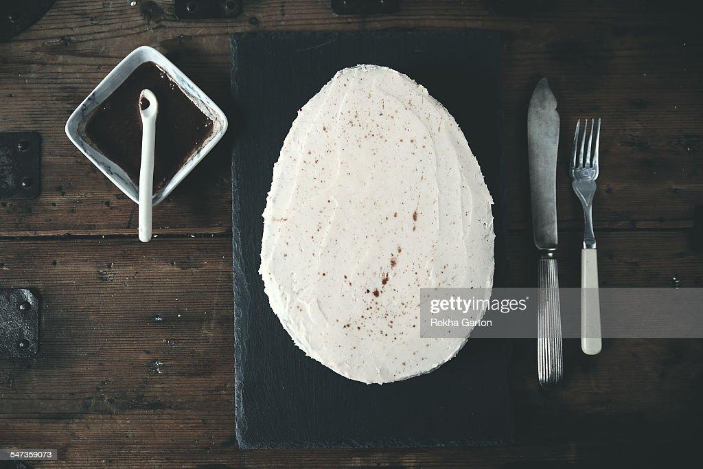 Egg shaped chocolate cake