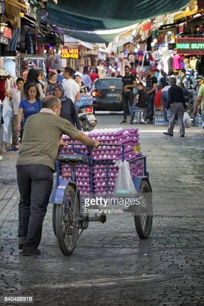 egg vendor in kemeralti,izmir. - emreturanphoto stock pictures, royalty-free photos & images