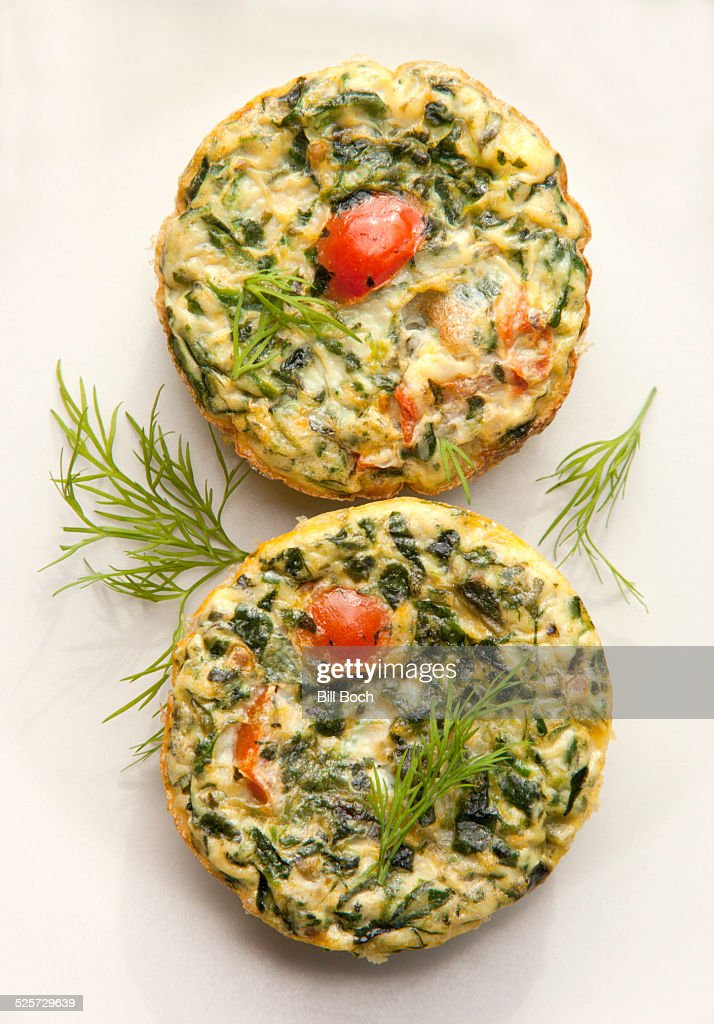 Egg white and spinach muffins : Stock Photo