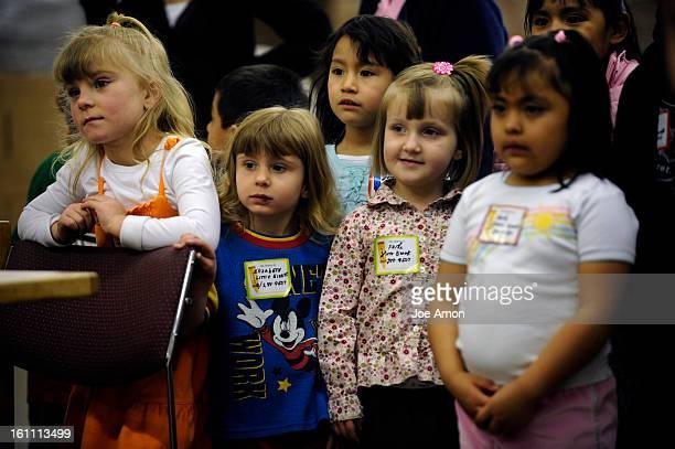 EGGDONATION08a Brooke Watring Elizabeth Blackwell Jennifer Lorie Faith Skaggs and Karla Martinez of Little Giants Learning Center in Commerce City...