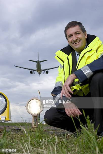 Eggenschwiler Michael CEO Hamburg Airport Germany wearing a security jacket on the maneuvring area of the airport Hamburg Fuhlsbuettel In the...