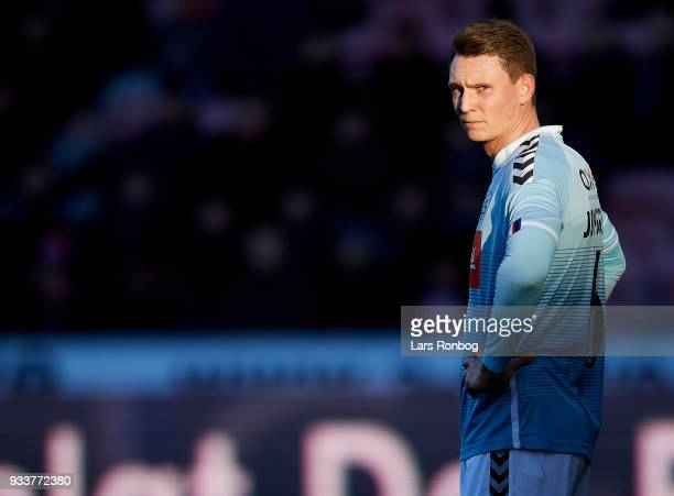 Eggert Jonsson of Sonderjyske looks on during the Danish Alka Superliga match between FC Midtjylland and Sonderjyske at MCH Arena on March 18 2018 in...
