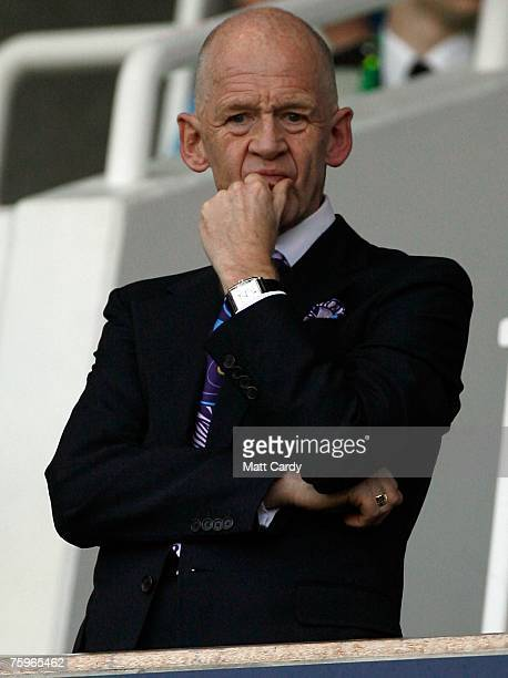 Eggert Magnusson chairman of West Ham watches the preseason friendly match between West Ham and Roma at Upton Park August 4 2007 in London England