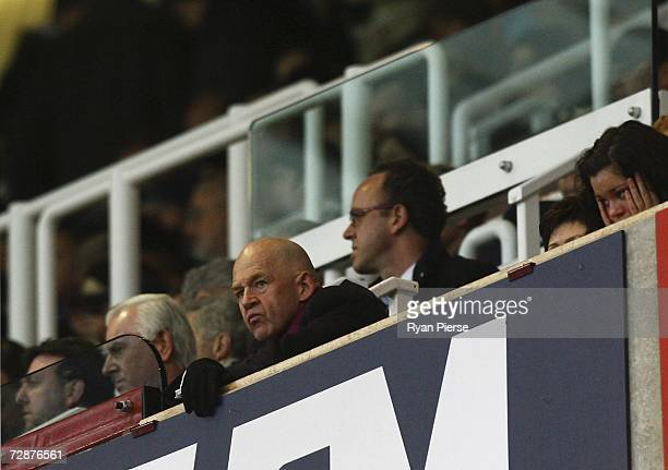 Eggert Magnusson the West Ham United Chairman watches from the grandstand during the Barclays Premiership match between West Ham United and...