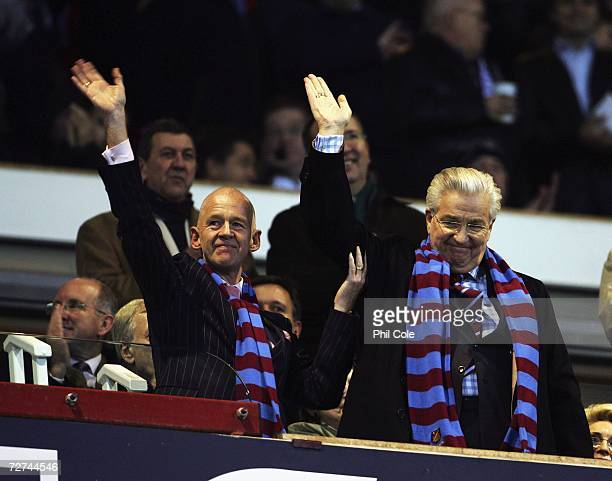 Eggert Magnusson West chairman and Bjorgolfur Gudmundssom waves during the Barclays Premiership match between West Ham United and Wigan at Upton Park...