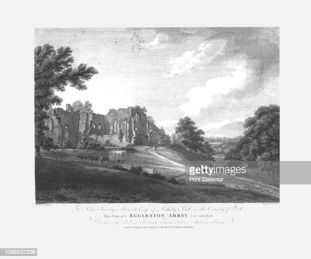 Eggleston Abbey' circa 1782 Ruins of Egglestone Abbey founded between 1195 and 1198 near the River Tees in County Durham Artist William Byrne