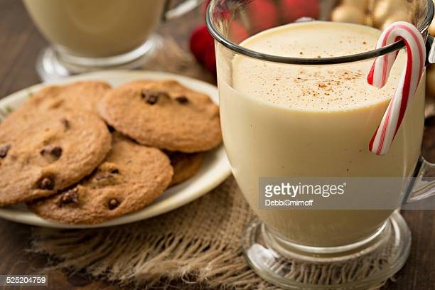 eggnog and cookies for two - eggnog stock photos and pictures