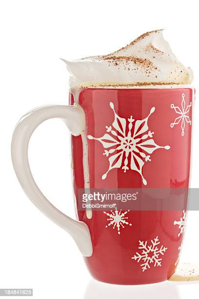 eggnog in a red christmas mug. - eggnog stock photos and pictures