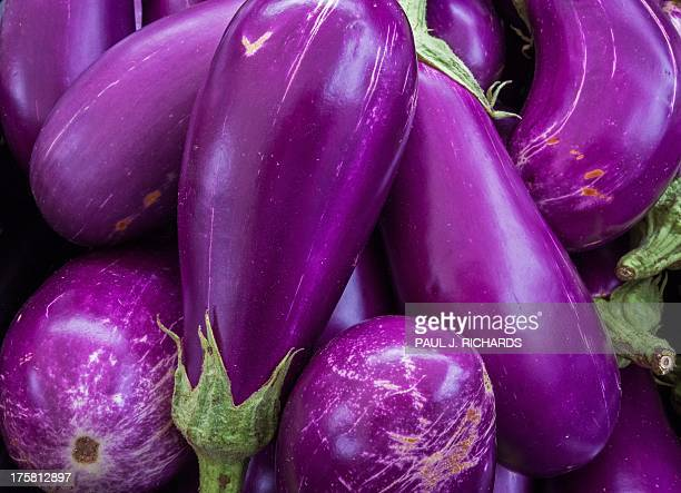 Eggplant is seen for sale at a local Farmers Market in Annandale Virginia August 8 2013 AFP Photo/Paul J Richards