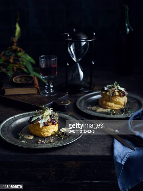 eggplant tarts with red wine, shallots, cep cream - bastille day stock pictures, royalty-free photos & images