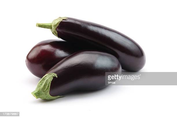 eggplants isolated - eggplant stock photos and pictures