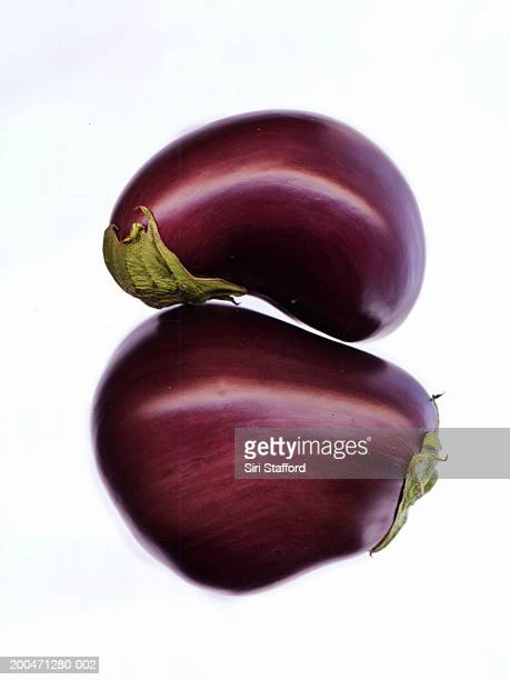 Eggplants (Solanum melongena) on white background