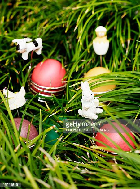 Eggs and Easter bunnies in grass