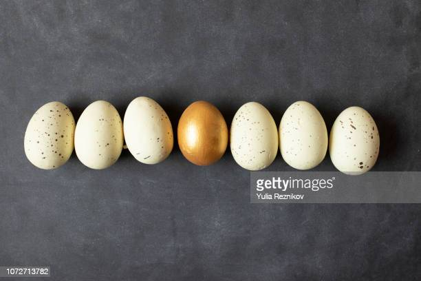 Eggs and one golden egg in nest basket on the black background.