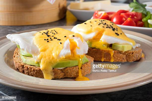 eggs benedict - avocado toast stockfoto's en -beelden
