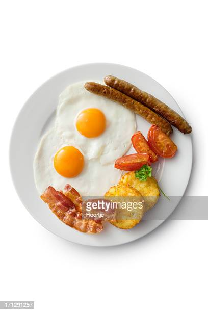 Eier: Spiegelei, Speck, Würstchen, Hash Brown und Tomaten
