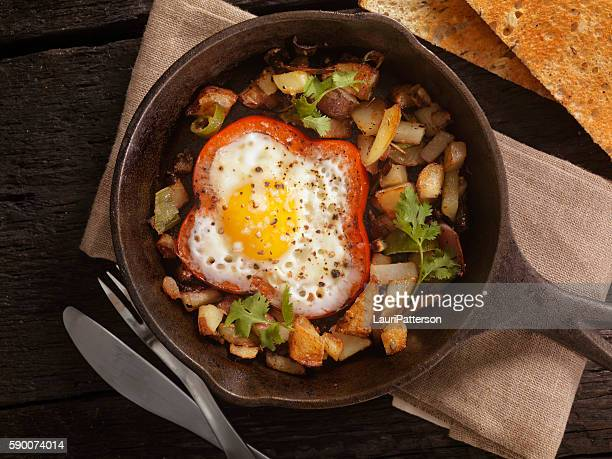 Eggs Fried in Peppers with Hash Browns