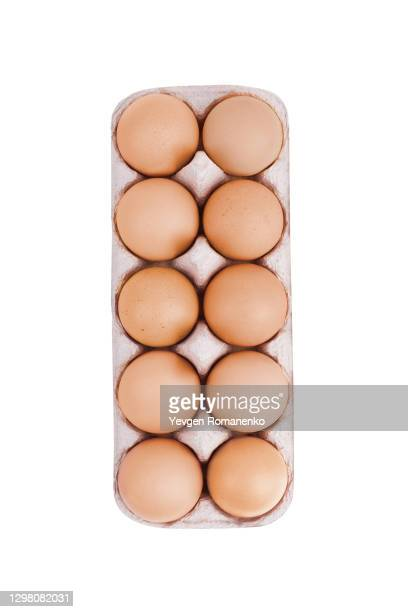 eggs in cardboard packaging isolated on white background - animal egg stock pictures, royalty-free photos & images