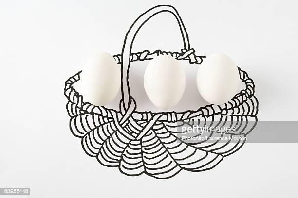 Eggs in drawing of basket