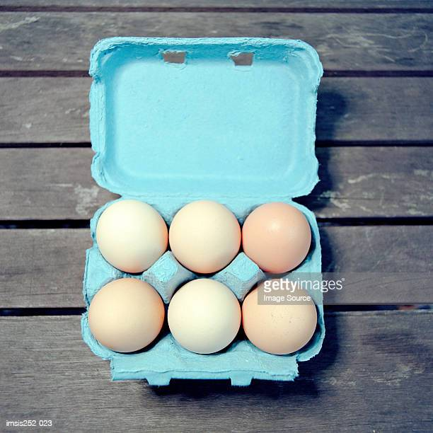 eggs in egg box - carton stock photos and pictures