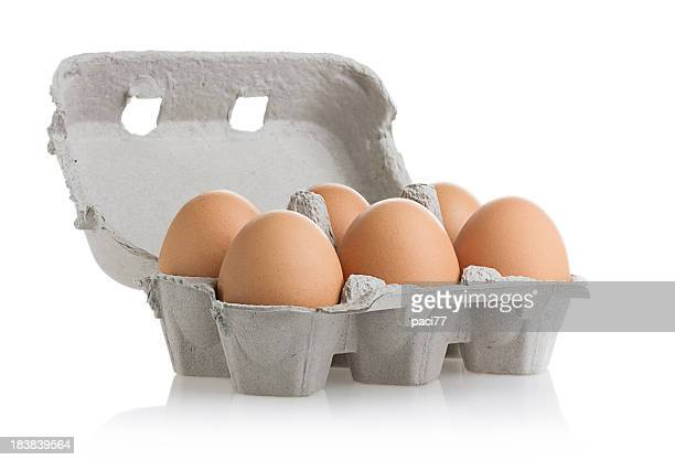 eggs (clipping path) - carton stock photos and pictures