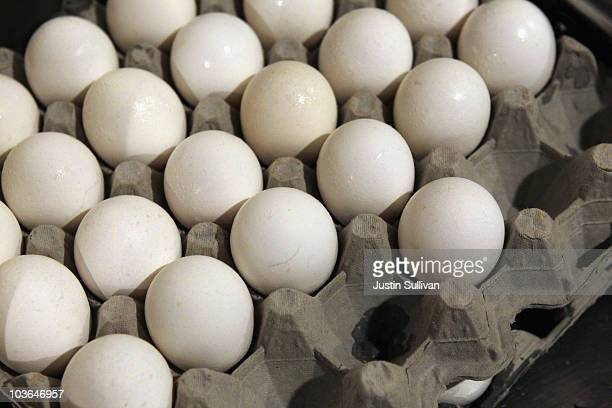 Eggs sit in a crate at Lundy's Home Cooking on August 26 2010 in San Rafael California Egg prices have skyrocketed nearly 40 percent since two Iowa...