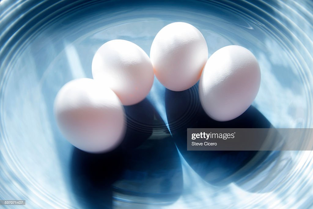 Eggs warming in sunshine for breakfast : Stock Photo
