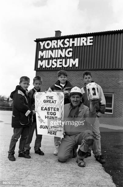Eggscavators Children at the Yorkshire Mining Museum Overton unearthed chocolate Easter eggs instead of coal They are from left Neil Hartley nine...