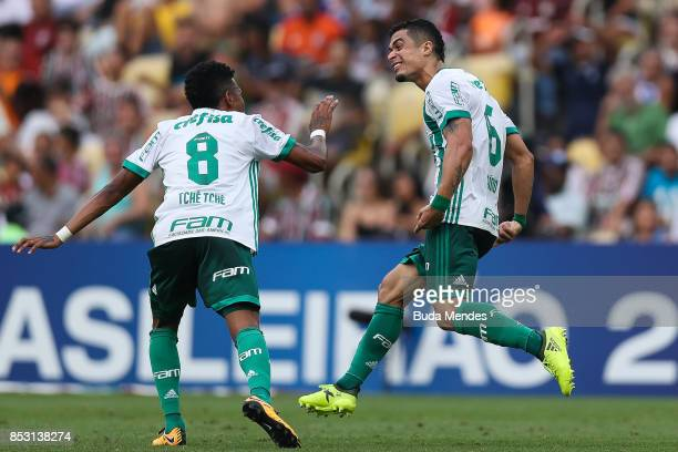 Egidio and Tch Tch of Palmeiras celebrate a scored goal during a match between Fluminense and Palmeiras as part of Brasileirao Series A 2017 at...