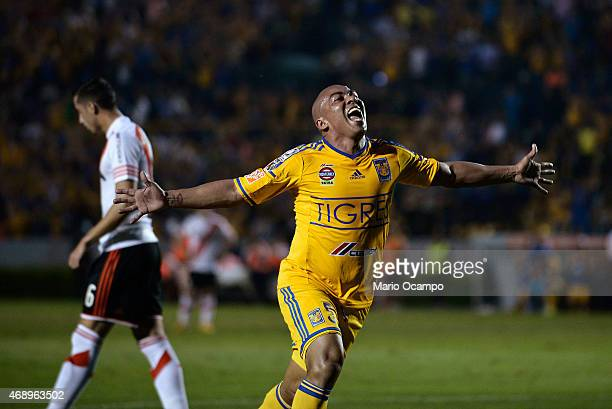 Egidio Arevalo of Tigres celebrates after scoring his team's first goal during a group 6 match between Tigres UANL and River Plate as part of group...