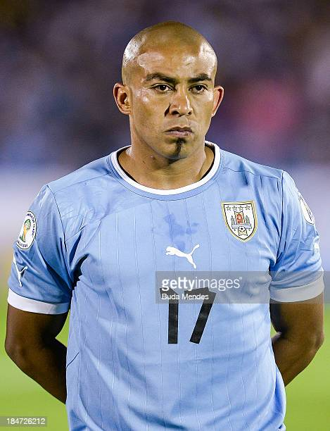 Egidio Arevalo Rios of Uruguay looks on during a match between Uruguay and Argentina as part of the 18th round of the South American Qualifiers for...