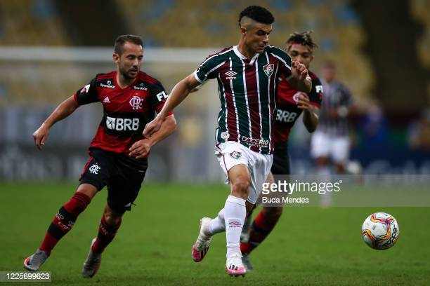 Egidio of Fluminense runs with the ball during the match between Flamengo and Fluminense as part of the Taca Rio the Second Leg of the Carioca State...