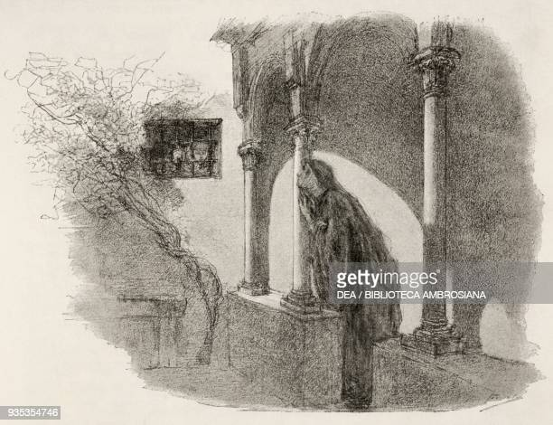Egidio speaking to Gertrude by a window overlooking a courtyard of the convent, illustration by Gaetano Previati , from The Betrothed: 17th century...