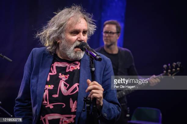 Egil Eldøen and Jonny Sjo from the band Lava perform on stage at a streaming concert at Sentralen during the coronavirus crisis on April 18 2020 in...