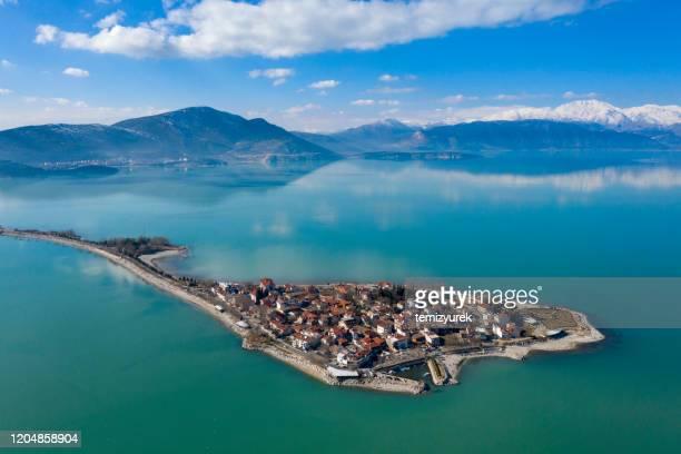 egirdir lake and town - peninsula stock pictures, royalty-free photos & images