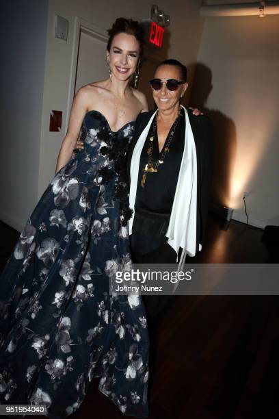 Eglantina Zingg and Donna Karan attend the 2018 Glasswing International Gala at Tribeca Rooftop on April 26 2018 in New York City