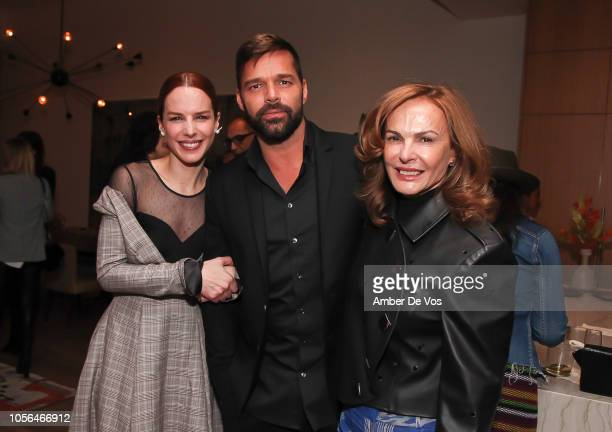 Eglantina Zingg, Ricky Martin and Nieves Zingg attend GOLEADORAS Celebrates United Nations Global Goals World Cup Winners at Private Residence on...