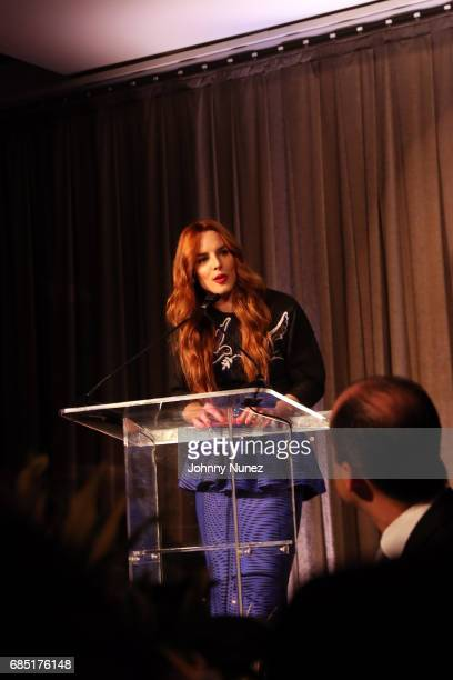 Eglantina Zingg speaks onstage at the Glasswing International 10th Anniversary Gala at Tribeca Rooftop on May 18 2017 in New York City
